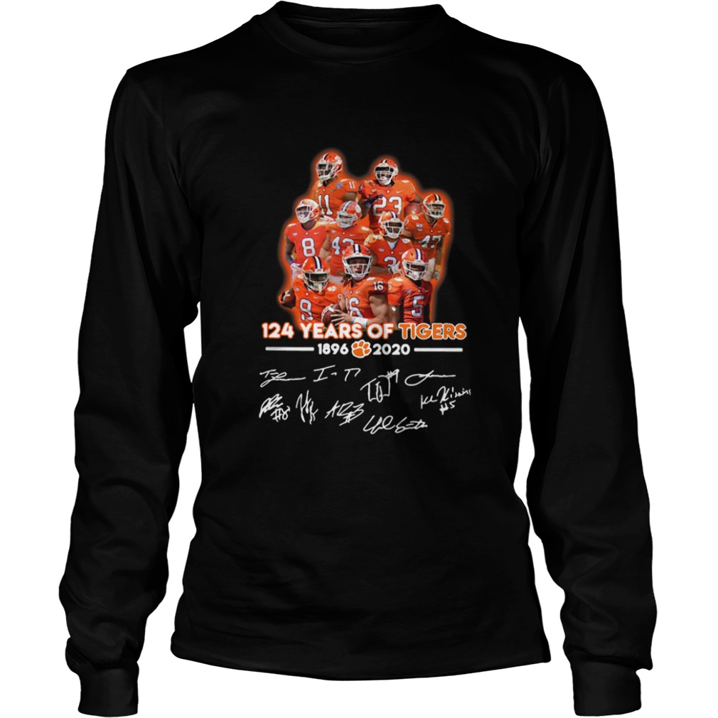 124 Years Of Clemson Tigers 1896 2020 Players Signatures  LongSleeve