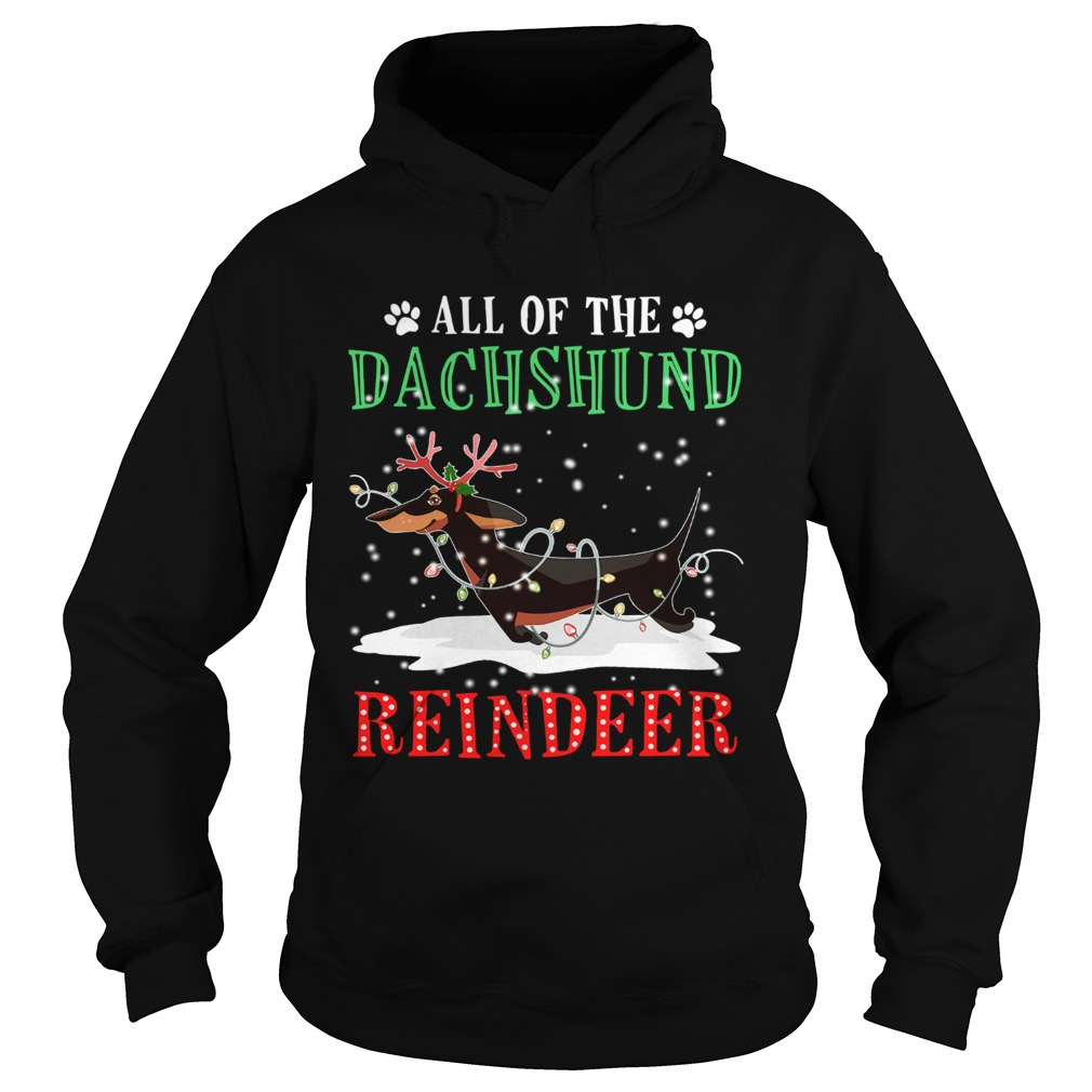 All of the Dachshund reindeer light christmas  Hoodie