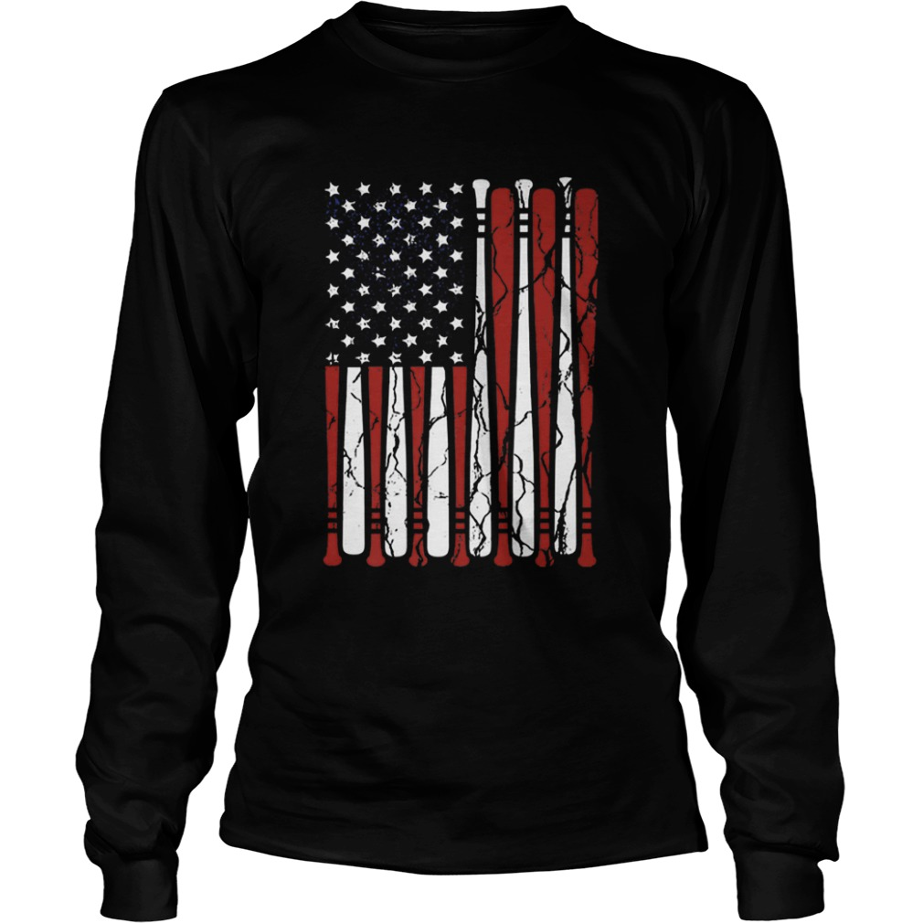American Flag baseball bat 4th Of July  LongSleeve