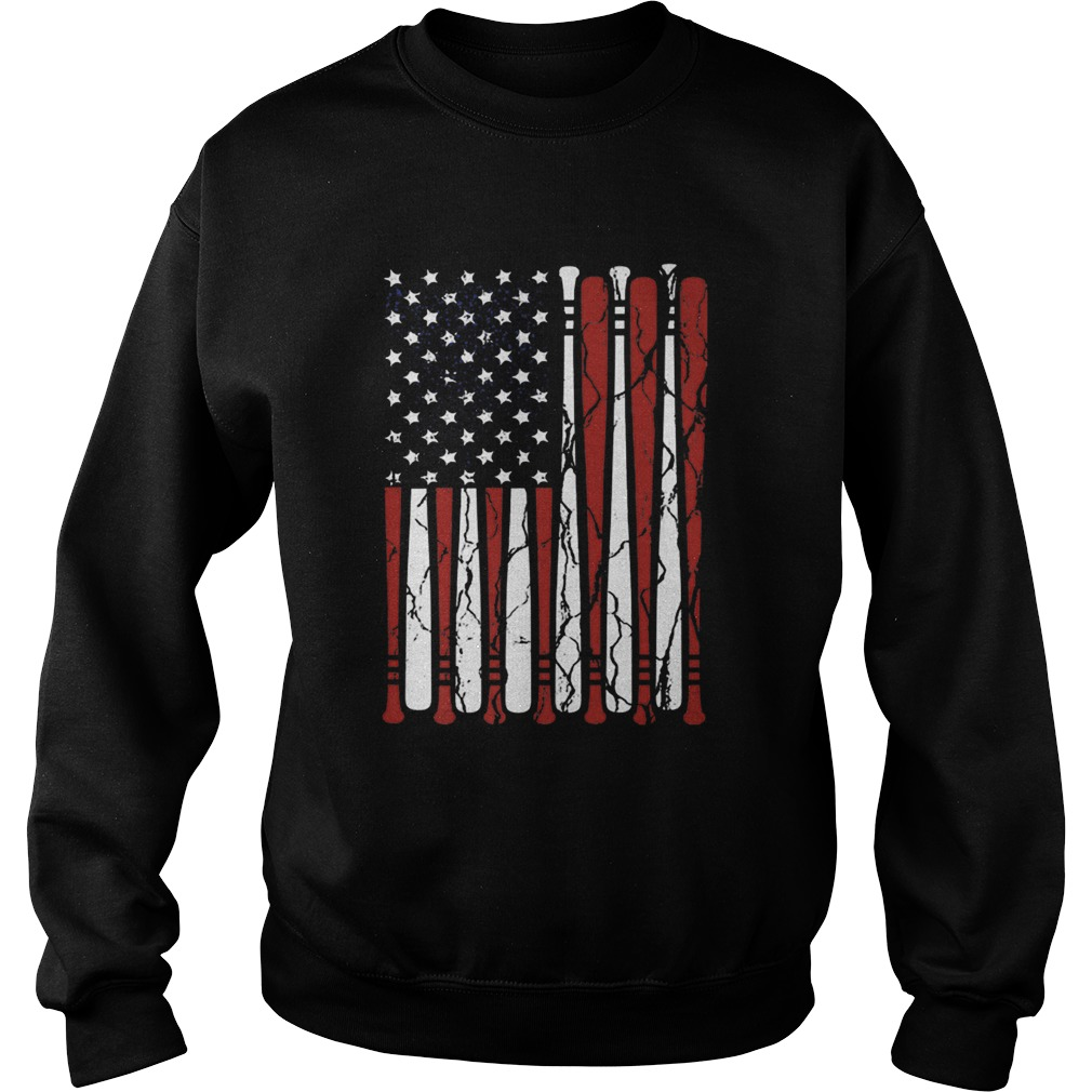 American Flag baseball bat 4th Of July  Sweatshirt