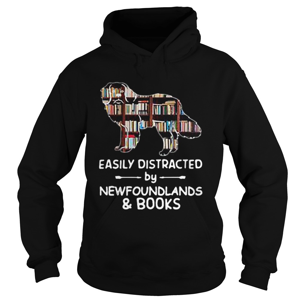Easily Distracted By Newfoundlands And Books  Hoodie