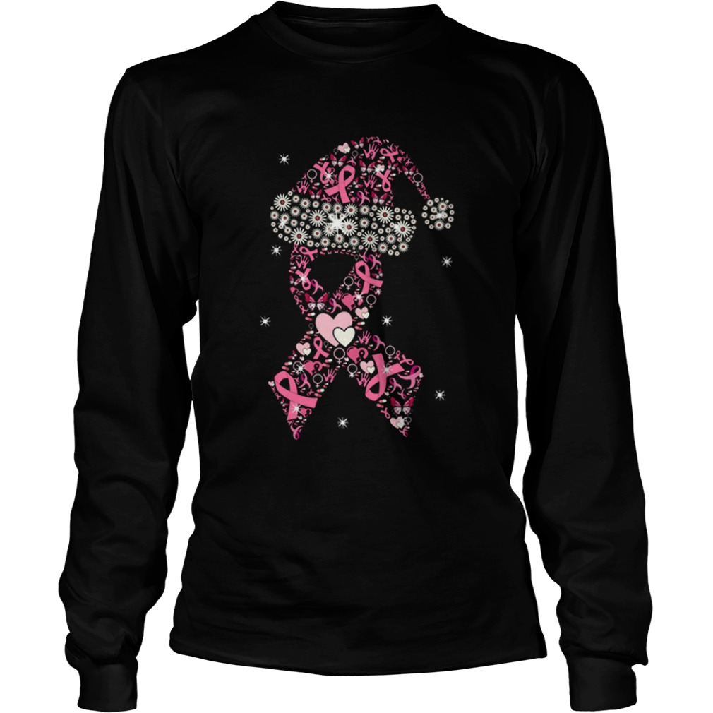Hot Breast Cancer Christmas Ribbon With Hat  LongSleeve