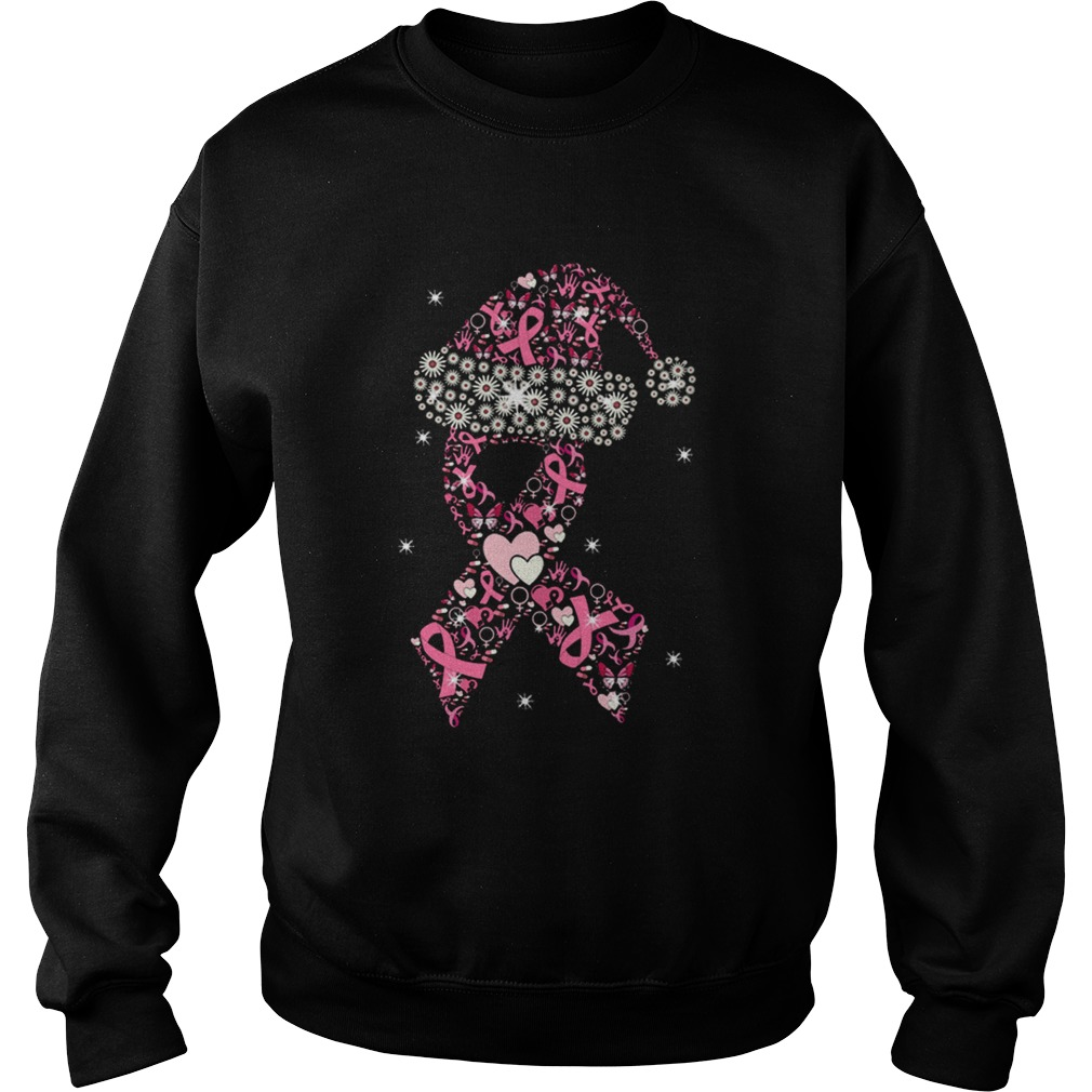 Hot Breast Cancer Christmas Ribbon With Hat  Sweatshirt