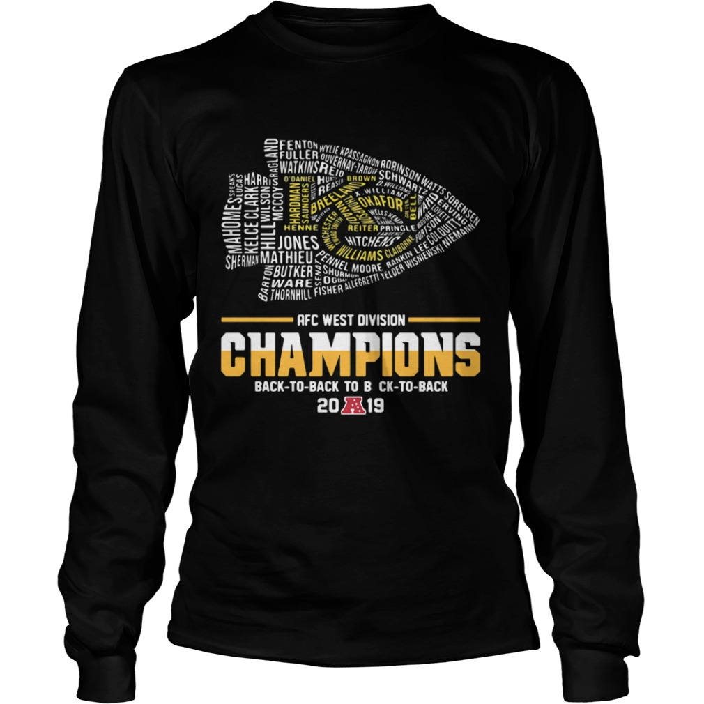 Kansas City Chiefs Players AFC West Divison Champions Back To Back  LongSleeve