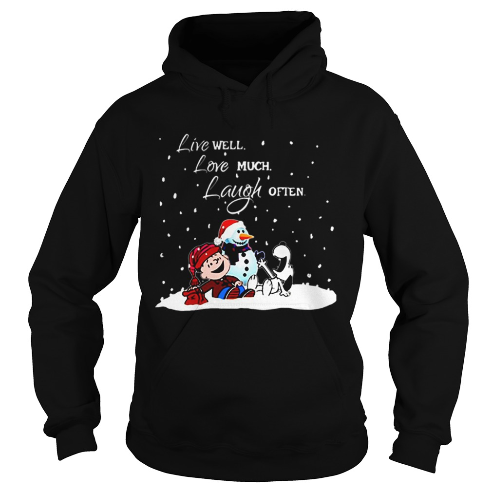 Snoopy Charlie Brown Live well love much laugh often Christmas  Hoodie