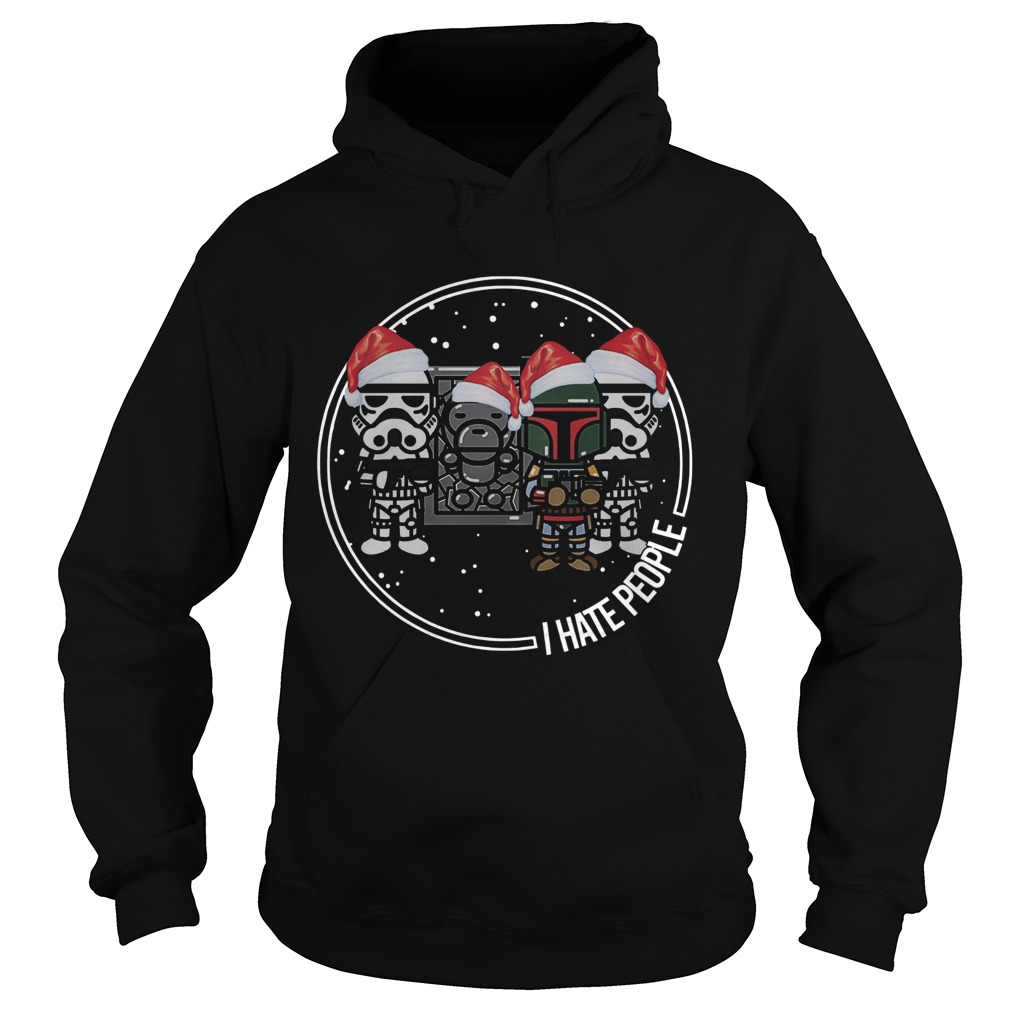 The Mandalorian Boba Fett I hate people christmas  Hoodie