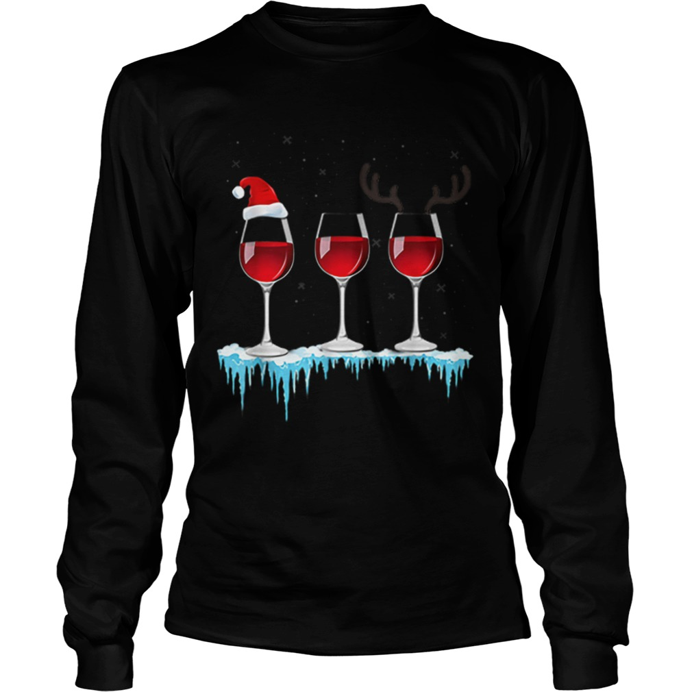 Three Glasses of Red Wine Santa Hat Christmas  LongSleeve
