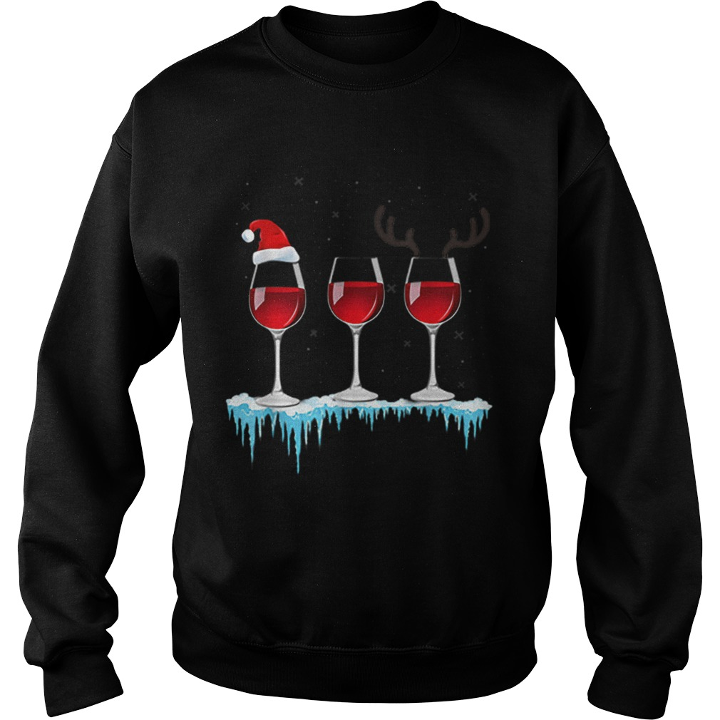 Three Glasses of Red Wine Santa Hat Christmas  Sweatshirt