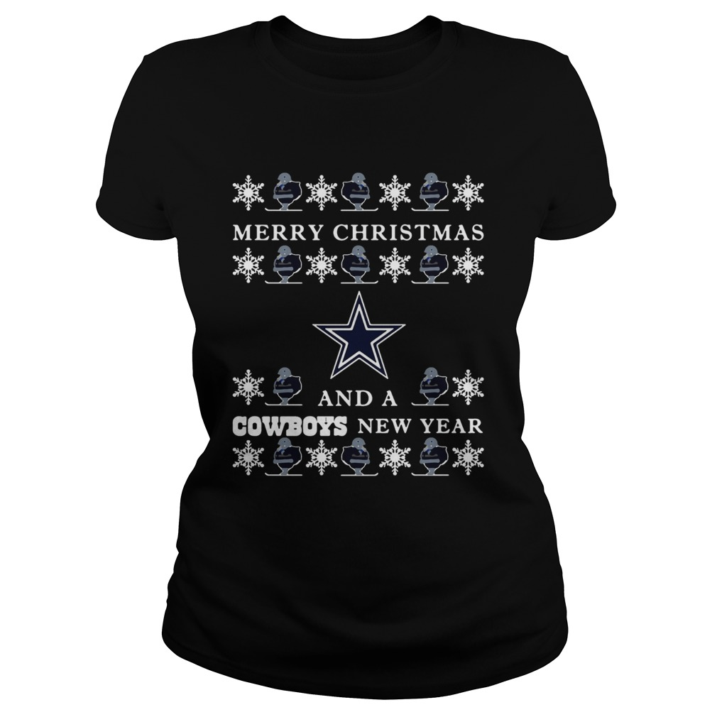 Ugly Merry Christmas and Dallas Cowboys  Classic Ladies