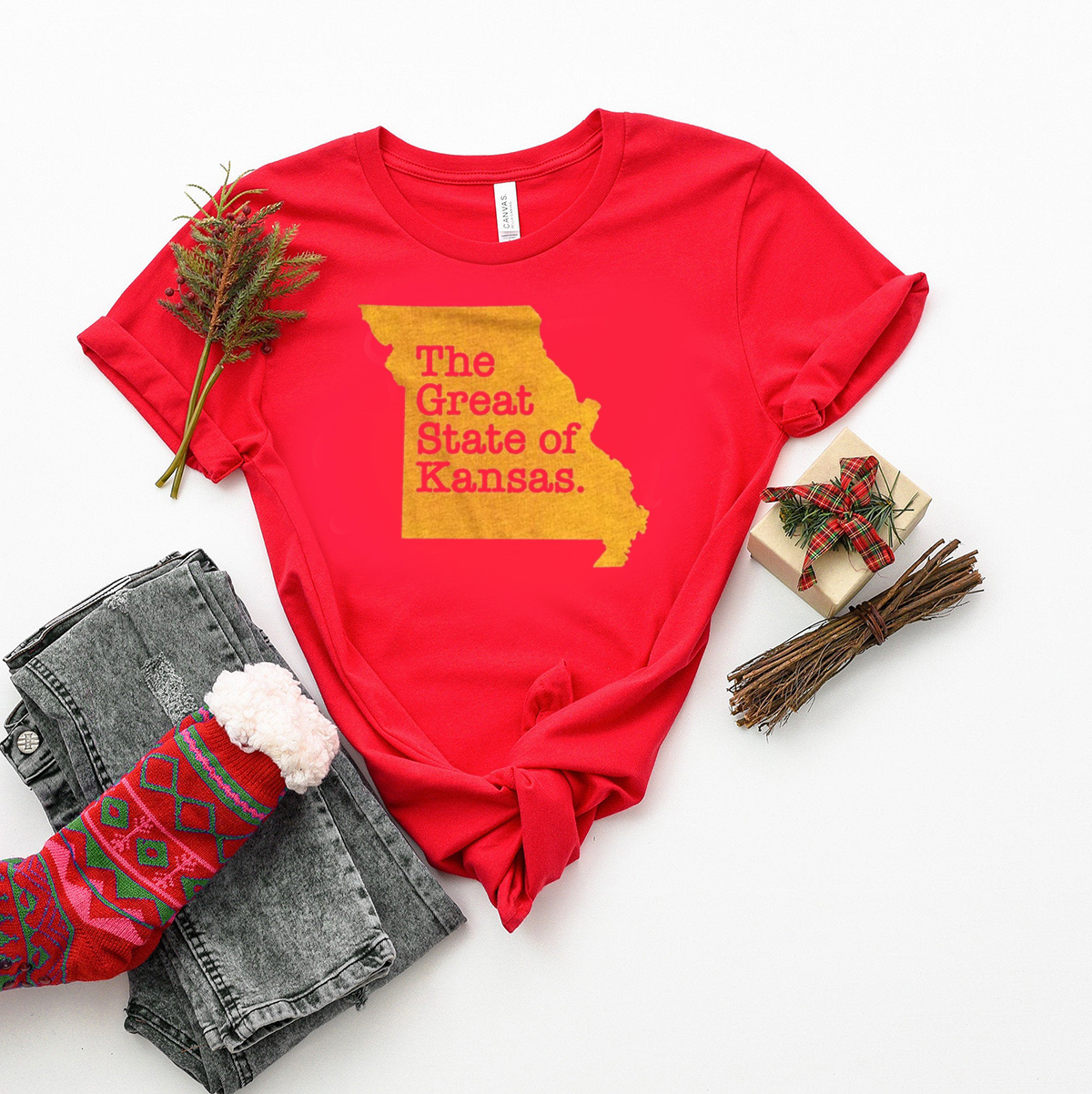 The Great State Of Kansas city chiefs Gift T-Shirts